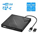 External DVD Drive USB 3.0 USB C CD Burner Amicool CD/DVD +/-RW Optical Drive,Slim Portable DVD CD ROM Rewriter Writer...