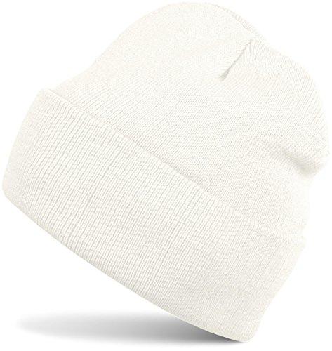 styleBREAKER Klassische Beanie Strickmütze, warme Feinstrick Mütze doppelt gestrickt, Unisex 04024029, Farbe:Weiß (Creme-Weiß)