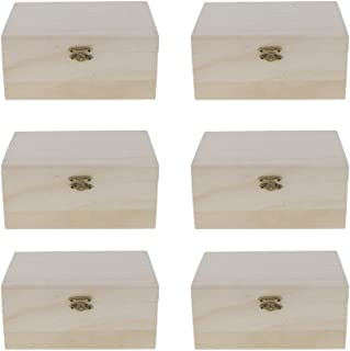 MagiDeal 6pcs Unfinished Simple Wooden Jewelry Box Unpainted Wood Storage Gift