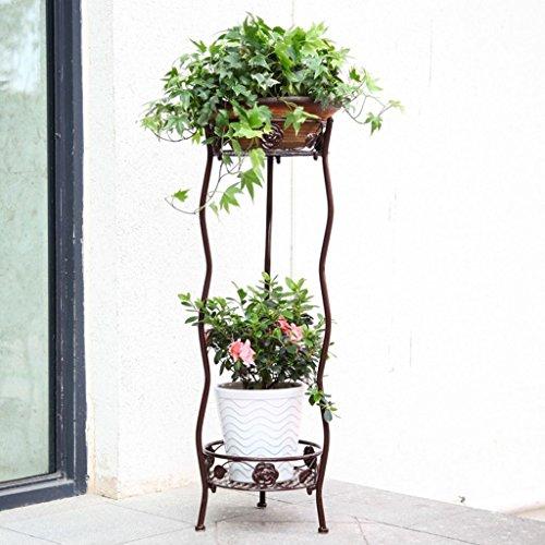 MSF Stand de fleurs Multifonctionnel Jardin En Fer Forgé Fleur Plateau Multi-couche Intérieur et Extérieur Charnue Balcon Salon Fleur Fleur Pot Rack Vert Cerise (Couleur : Bronze)