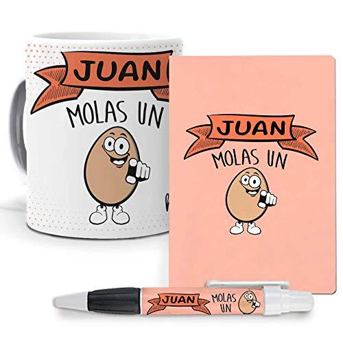 mundohuevo Pack Original y Personalizado para Regalo con Nombre. Juan Molas un Huevo. Libreta, boligrafo y Taza Maxima Calidad.