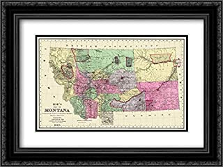 Montana - IDE 1890 38x28 Black Ornate Frame and Double Matted Museum Art Print by IDE Vintage Map
