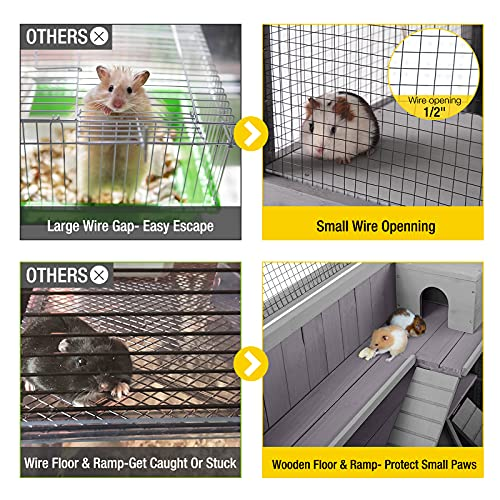 Aivituvin Upgraded 3 Tier Hamster Cage with Chewing Toy, Hideout, Seesaws, Food Bowl, Rat House-Leak Proof Plastic Tray