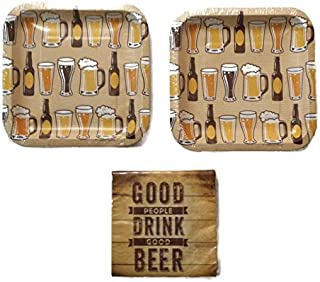 """Beers And Cheers 7"""" Plates (16) Napkins (16)"""