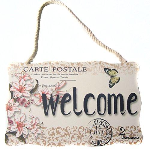 VORCOOL Piastra di Benvenuto in Legno Pannello Recto-Verso Welcome Quadri Welcome per Porta, Finestra, Mura, caffè, Negozio, Negozio