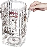 Cq acrylic 360 Rotating Earring Holder and Jewelry Organizer,4 Tiers Jewelry Rack Display Classic Stand,156 Holes For Earrings Organizer and 160 Grooves for Necklaces Display,Clear Pack of 1