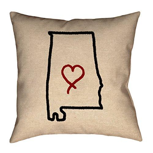ArtVerse Katelyn Smith 18 x 18 Spun Polyester Alabama Outline Pillow