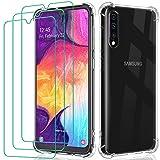 ivoler Funda para Samsung Galaxy A50 / A50S / A30S + 3X Cristal Templado Protector de Pantalla, Silicona Transparente TPU Carcasa Protector Airbag Anti-Choque Anti-arañazos Caso