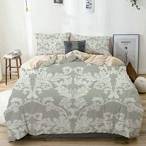 N2 Parure de lit,Beige,Housse de Couette,Motif Floral Baroque Vintage damassé,1 Housse de Couette + 2 Taies d'Oreillers Single