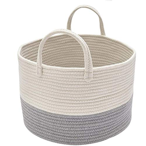 DOKEHOM DKA0625WGM Large Storage Baskets (4 Sizes) - 15.7' x 9.8' - Cotton Rope Basket Woven Baby Laundry Basket with Handle for Diaper Toy Cute Neutral Home Decor (White/Grey, M)