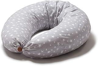 Niimo Cojin Lactancia Bebe y Almohada Embarazada Dormir XXL Multifuncion Funda Cojin 100% Algodon Desenfundable y Lavable Relleno de Poliester Multiusos Maternidad (Gris-Estrella Blanca)