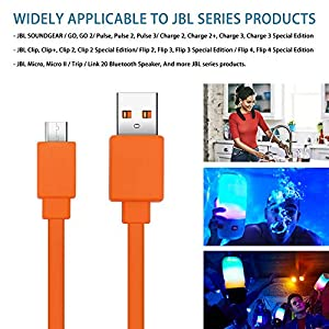 JAINTA USB Fast Power Charging Charger Cable Cord Compatible with for JBL Wireless Bluetooth Speaker Earphone Headphone - 3.3FT & Orange