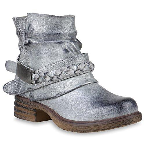 Damen Stiefeletten Biker Boots Schnallen Metallic Schuhe 147510 Silber 39 Flandell