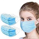 Langten 50 láminas protectoras orales y nasales para hombres y mujeres adultos (3 capas, correas elásticas desechables, con puente nasal suave).
