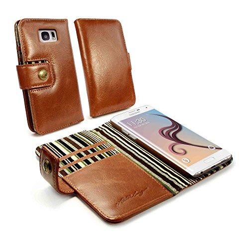 Alston Craig Vintage echt Leder Brieftaschen Case Hülle Tasche für Samsung Galaxy S6 Edge (gratis Bildschirmschutz) / (RFID-Ausleseschutz für Ihre Karten) - Braun