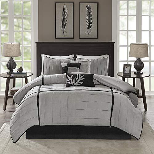 Madison Park Cozy Comforter Set Casual Blocks Design All Season, Matching Bed Skirt, Decorative Pillows, Cal King(104x92), Dune Suede, Black Grey, 7 Piece