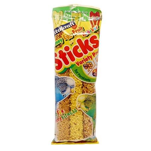 Vitakraft Kracker Leckerli-Sticks für Wellensittiche, Honig, Ei, Gras, 3 Packungen mit 7 Stück