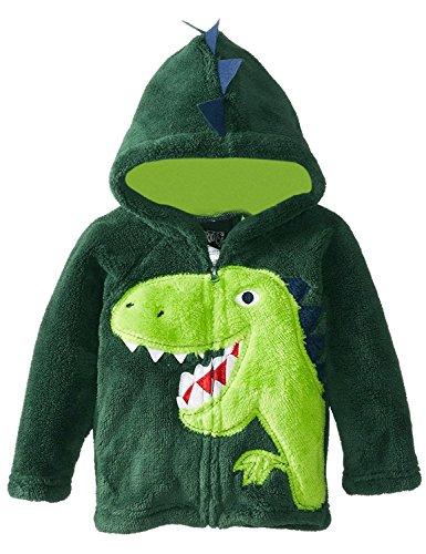 FANTASIEN Little Boys Winter Coral Fleece Dinosaur Zipper Hoodies Jacket Outerwear Windbreaker Coat for 1-6T Boy (5-6T, Dinasour)