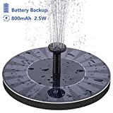 Riapow Solar Fountain for Bird Bath, 2.5W Solar Powered Fountain with 800mAh Battery Backup Free-Standing Floating Water Pump for Birdbath, Garden, Pond, Pool, Outdoor