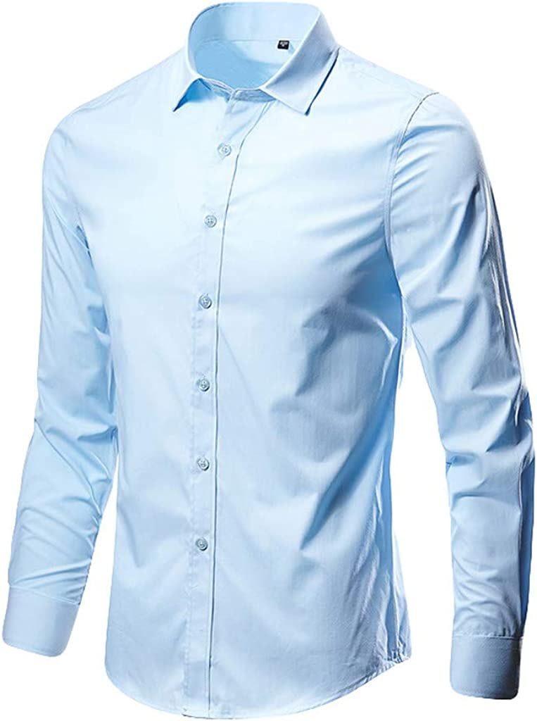 MODOQO Men's Regular Fit Collar Solid Long Sleeve Casual Button Down Dress Shirt