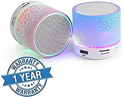 ZAPTIN Wireless LED Bluetooth Speakers S10 Handfree with Calling Functions & FM Radio for All Android & iPhone Smartphones (One Year Warranty, Assorted Colour)