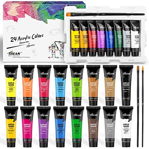 THEAN Acrylic Paint Set 24 Premium Acrylic Paint Colors for Kids and Adults in Flexible 22 ml product image