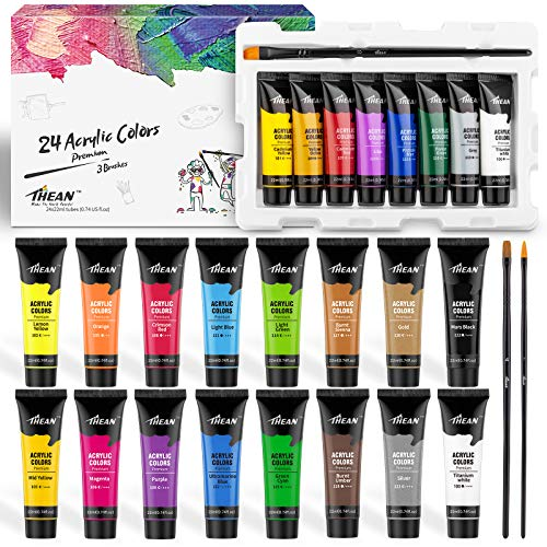 THEAN Acrylic Paint Set – 24 Premium Acrylic Paint Colors for Kids and Adults in Flexible 22...