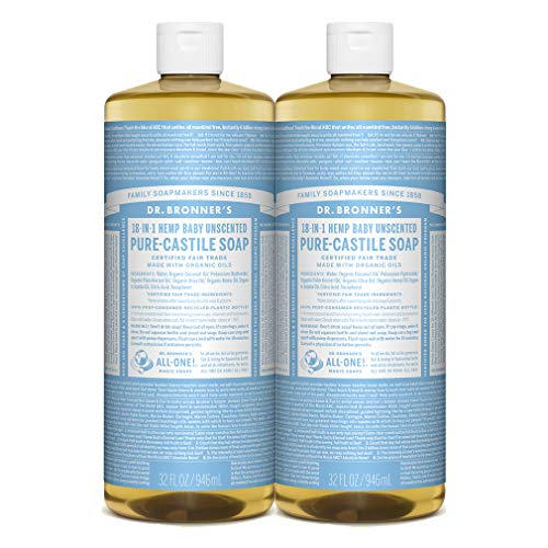 Dr. Bronner's - Pure-Castile Liquid Soap (Baby Unscented, 32 Fl Oz (Pack of 2)