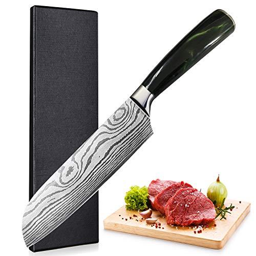 UniqueFire Cuchillo Santoku - Cuchillo japonés de Cocina Profesional - Hoja de Acero alemán de Alto Contenido de Carbono de 17CM con Mango ergonómico y Robusto