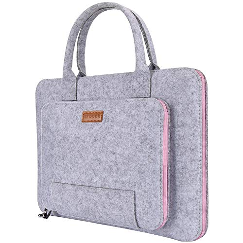 RuiXia WLT Inch Laptop Sleeve Felt Notebook Computer Case Bag Pouch with Handle for 15 15.6' Acer, ASUS, Dell, HP, Lenovo, Toshiba, Gray & Pink