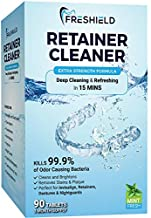 FRESHIELD Retainer & Denture Cleaner Tablets - Remove Stain Plaque Bad Odor, Compatible with Invisalign, Dentures, Retainers, Mouth Guards, Braces, Teeth Straighteners, Night Guards, Dental Appliances