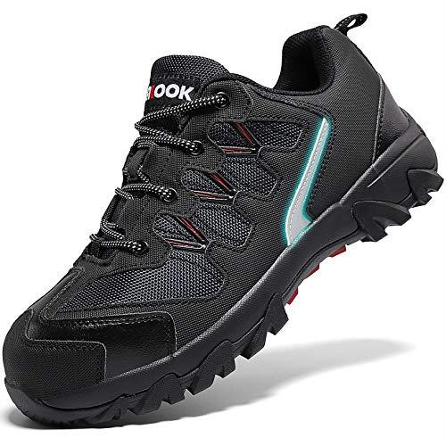 Zapatos de Seguridad,Punta de Acero Zapatos Ligero Zapatos de Trabajo Respirable Construcción Zapatos Reflexivo Botas de Seguridad(A Negro,42 EU)