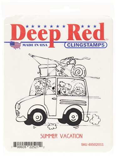Deep Red Stamps Tampon étirable en 3 x 7 cm Motif Vacances d'été, Rouge Profond