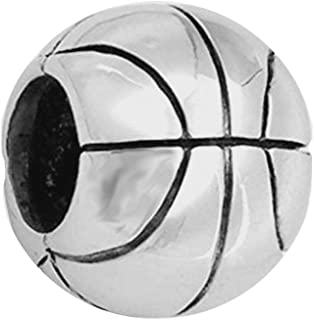 Basketball Charm 925 Sterling Silver Ball Charm Sport Charm for Pandoar Bracelet (C)