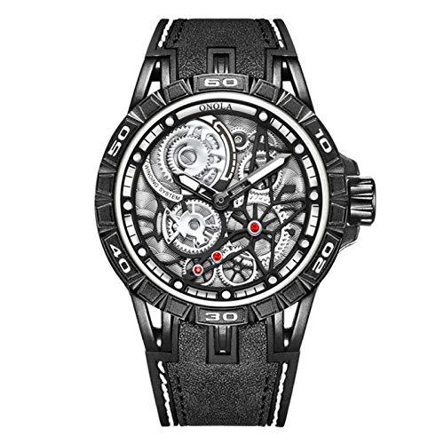 Flytise Reloj de Cuarzo Compatible with Hombre, Reloj de Cuarzo Compatible with Hombre, Correa de Cuero, 3ATM, Reloj de Pulsera con diseño Hueco Compatible with Hombres y niños