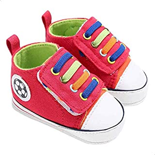 Mix and Max Contrast-Lace Football-Patch High-Top Velcro-Strap Shoes for Boys 9-12 Months