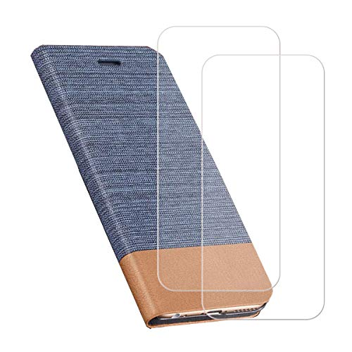 YZKJSZ Funda para Alcatel Aprise (5.5') + [2 Piezas] Cristal Templado Protector de Pantalla Cover Flip Folio Case PU Cuero Caso Función de Soporte Billetera Tapa Carcasa - Azul Claro