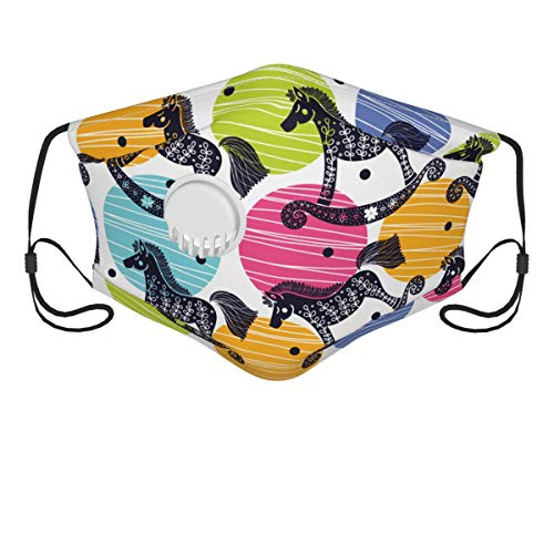 Mokale Face Cover Rocking Horses Balaclava Reusable Windproof Anti-Dust Mouth Bandanas Outdoor Wedding Party Sports Motorcycle Neck Gaiter with 2 Filters for Teen Men Women