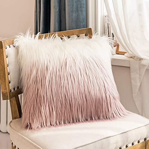 GSDJU pillow covers,housewarming,Mother's Day,Christmas,cars,2pcs Pillow Case 50x50cm Cushion Cover Faux Fur Pink Orange For Sofa Bedroom Car Soft Home Decorative