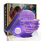 JINYI Sombrero de juego de béisbol con luz nocturna 3D, lámpara de ilusión óptica LED, C- Touch Crack Blanco (7 colores), 7 cambio de color, Regalo para amigo