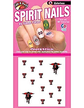 Fan-A-Peel Texas Tech Red Raiders Waterless Art Nail Decals - Peel & Stick Temporary Tattoos for Kids and Adults - Adhesive Nail Polish Sticker Accessories Great for Tailgates and Game Day  12 Pack