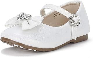 DREAM PAIRS ANGEL-22 Mary Jane Front Bow Heart Rhinestone Buckle Ballerina Flat