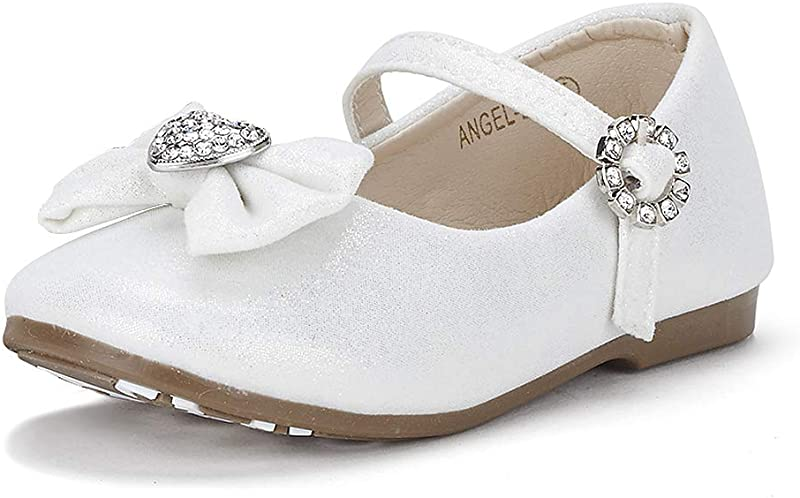 DREAM PAIRS ANGEL 22 Mary Jane Front Bow Heart Rhinestone Buckle Ballerina Flat