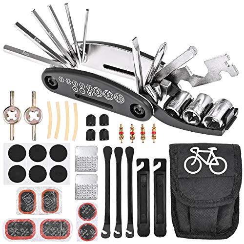 Nabance Fahrrad-Multitool 16 in 1 Werkzeuge für Fahrrad Reparatur Set 35 STK Praktisches Fahrrad Werkzeug Reparatur Set Flickzeug Fahrradflickzeug Reparaturset Multifunktionswerkzeug mit Tasche