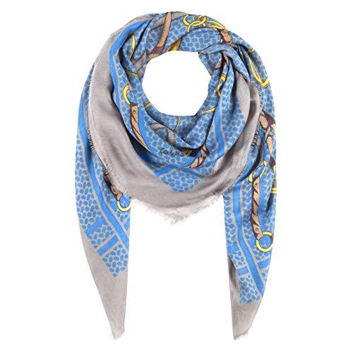 CODELLO Unisex Damen Halstuch | Schultertuch aus 100% Modal mit klassischem Foulard-Muster XXL120x120cm Mode-Schal, Jeans Blue, Einheitsgröße