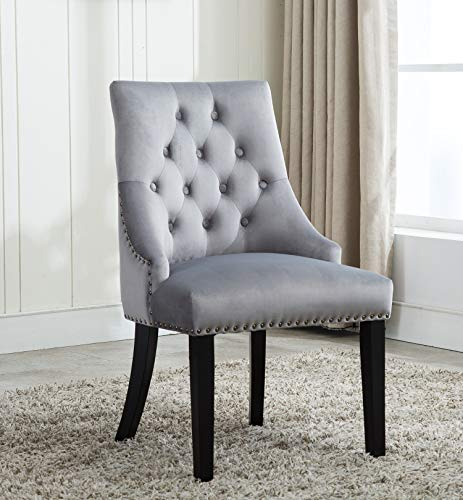 MCC® Relax Design Stuhl Victoria mit Ring, samtigem Bezug und dekorativen Nieten, in 4 angesagten Farben (Grau)