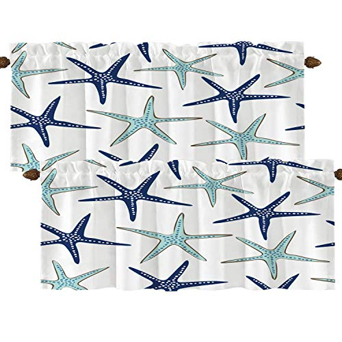 BaoNews Nautical Navy Blue Kitchen Valance Window Curtain, Coastal Nautical Starfish Repeat Pattern Navy Blue Blackout Decoration Valances Curtains Drapes Kitchen Bedroom, 52 X 18 Inch
