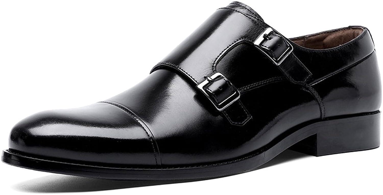 DESAI Mens Business shoes Double Buckle Monk