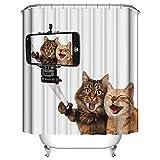 Topmail 3D Duschvorhang aus Polyester mit 12 Duschvorhangringe für Badezimmer wasserabweisend & Anti-Schimmel waschbare badvorhang (Katze, 180 x 200 cm)