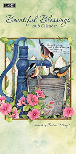 """LANG - 2018 Vertical Wall Calendar -""""Bountiful Blessings"""", Artwork by Susan Winget - 12 Month, Open Size 7.75"""" x 15.5"""""""